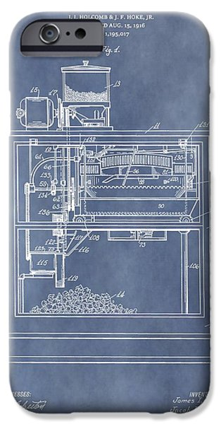 Film Maker iPhone Cases - Vintage Popcorn Machine Patent iPhone Case by Dan Sproul