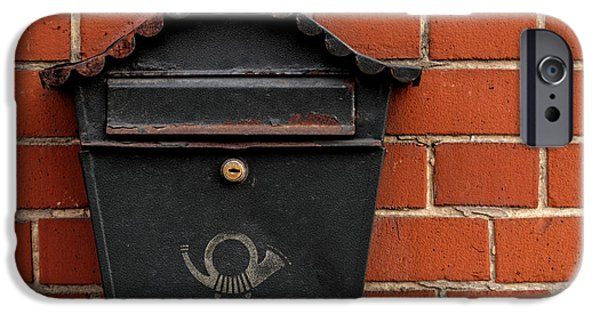 Business Pyrography iPhone Cases - Vintage postbox on brick wall iPhone Case by Oliver Sved