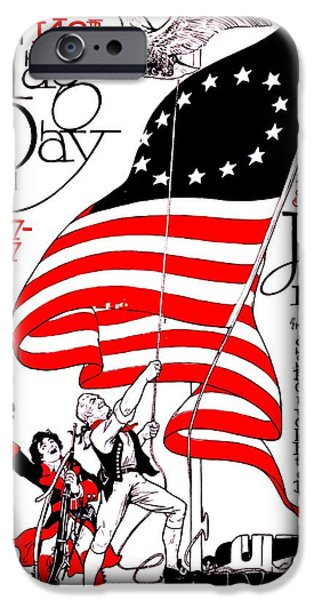 Vintage Poster - America - Flag Day 1917 iPhone Case by Benjamin Yeager