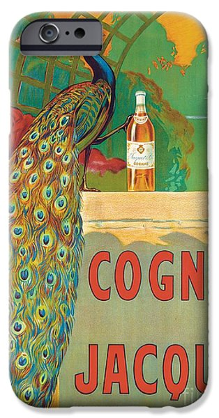 Backdrop iPhone Cases - Vintage Poster Advertising Cognac iPhone Case by Camille Bouchet