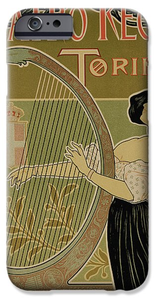 Theater Drawings iPhone Cases - Vintage Poster advertising the Theater Royal Turin iPhone Case by Italian School