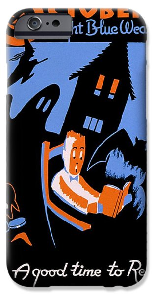Haunted Schools iPhone Cases - Vintage Poster - Reading - October iPhone Case by Benjamin Yeager
