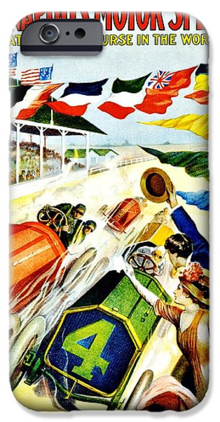 Indy Car iPhone Cases - Vintage Poster - Sports - Indy 500 iPhone Case by Benjamin Yeager