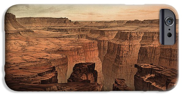Grand Canyon iPhone Cases - Vintage Print of the Grand Canyon by William Henry Holmes - 1882 iPhone Case by Blue Monocle