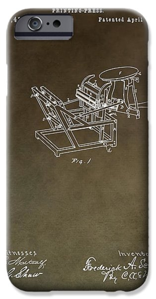 Machinery Mixed Media iPhone Cases - Vintage Printing Press Patent iPhone Case by Dan Sproul