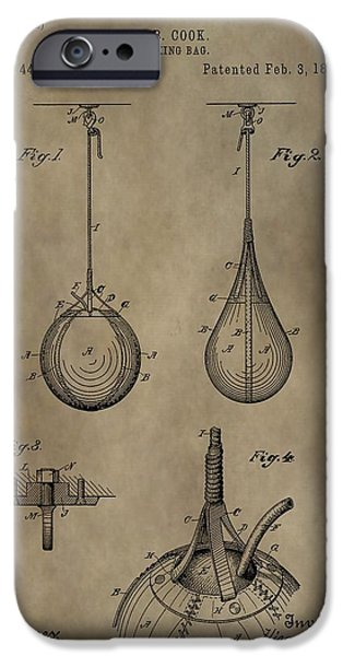 Punch Digital iPhone Cases - Vintage Punching Bag Patent iPhone Case by Dan Sproul