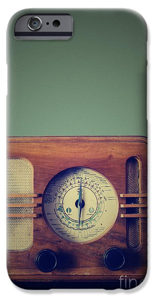 Interior Still Life Pyrography iPhone Cases - Vintage Radio iPhone Case by Jelena Jovanovic