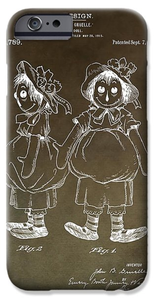 Toy Store Mixed Media iPhone Cases - Vintage Raggedy Ann Patent iPhone Case by Dan Sproul