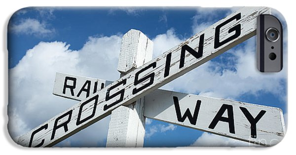 Railway iPhone Cases - Vintage Railway Crossing Sign iPhone Case by Edward Fielding