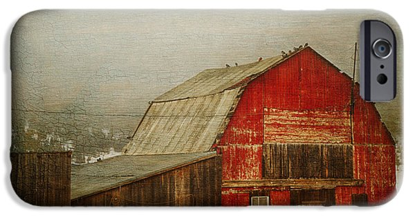 Old Barns iPhone Cases - Vintage Red Barn iPhone Case by Theresa Tahara