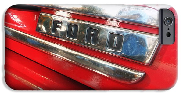 Racing iPhone Cases - Vintage Red Ford Truck Badge 02 iPhone Case by Thomas Woolworth