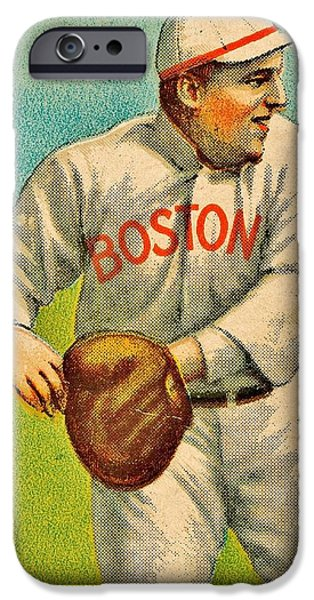 Vintage Red Sox iPhone Case by Benjamin Yeager