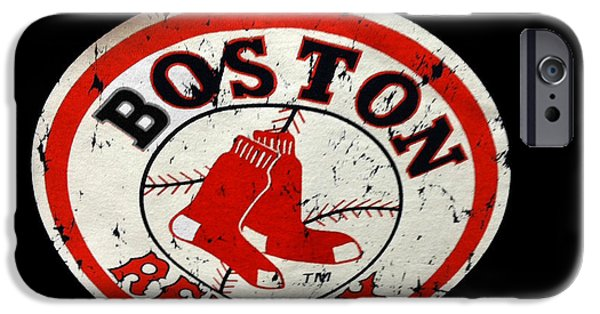 Baseball Glove iPhone Cases - Vintage Red Sox iPhone Case by Caroline Stella