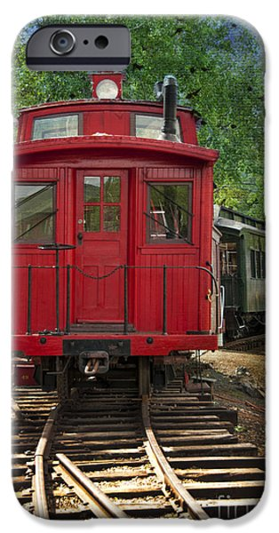 Antiques iPhone Cases - Vintage Red Train iPhone Case by Juli Scalzi