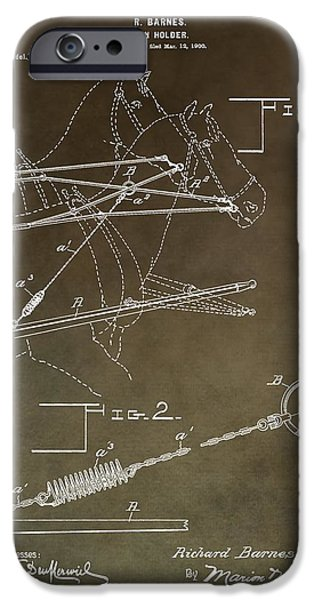 Horse Racing iPhone Cases - Vintage Rein Holder Patent iPhone Case by Dan Sproul
