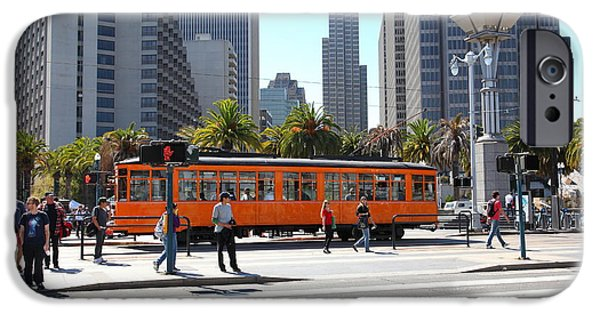 Bus In San Francisco iPhone Cases - Vintage San Francisco Street Car on The Embarcadero 5D25384 iPhone Case by Wingsdomain Art and Photography