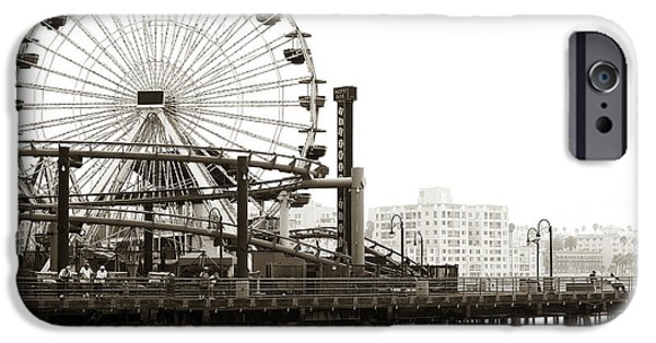 Brown Toned Art iPhone Cases - Vintage Santa Monica Pier iPhone Case by John Rizzuto