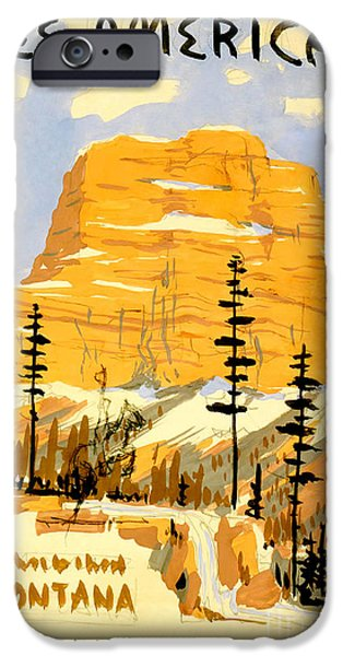Vintage Travel iPhone Cases - Vintage See America Travel Poster iPhone Case by Jon Neidert