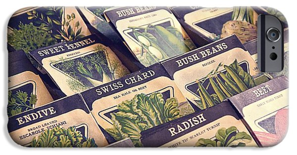 Swiss Chard iPhone Cases - Vintage Seed Packages iPhone Case by Edward Fielding