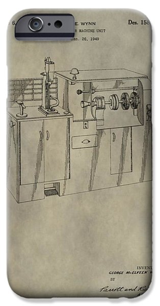Machinery Mixed Media iPhone Cases - Vintage Shoe Repair Machine Patent iPhone Case by Dan Sproul