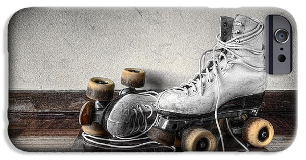 Vintage iPhone Cases - Vintage Skates iPhone Case by Carlos Caetano