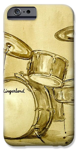 Music Drawings iPhone Cases - Vintage Slingers iPhone Case by Pete Maier