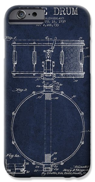 Drummer iPhone Cases - Snare Drum Patent Drawing from 1939 - Blue iPhone Case by Aged Pixel