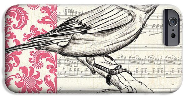 Flight Paintings iPhone Cases - Vintage Songbird 1 iPhone Case by Debbie DeWitt