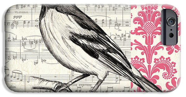 Flight Paintings iPhone Cases - Vintage Songbird 2 iPhone Case by Debbie DeWitt
