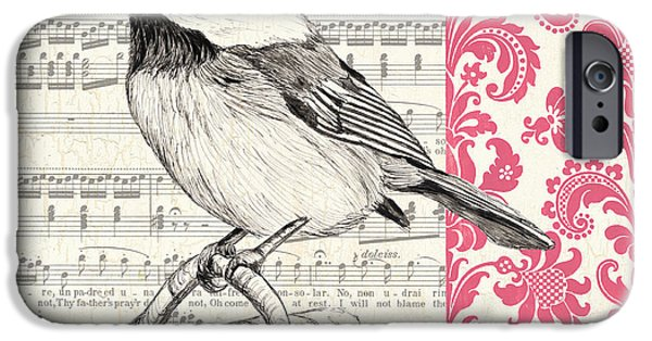 Aviary iPhone Cases - Vintage Songbird 3 iPhone Case by Debbie DeWitt