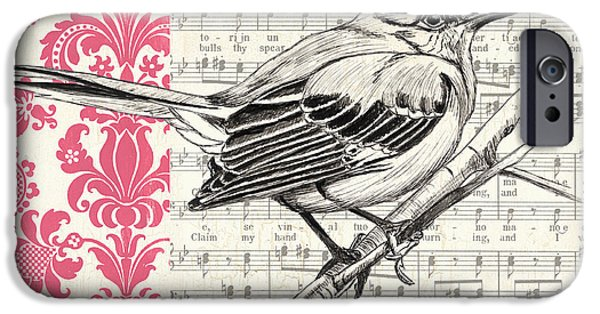Aviary iPhone Cases - Vintage Songbird 4 iPhone Case by Debbie DeWitt