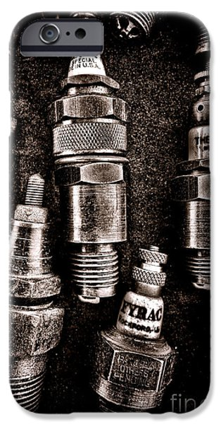Sparks iPhone Cases - Vintage Spark Plugs iPhone Case by Olivier Le Queinec