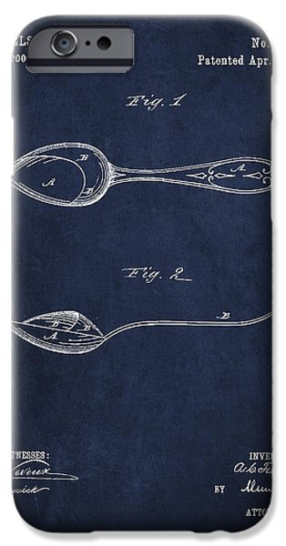 Spoon iPhone Cases - Vintage Spoon Patent Drawing from 1882 iPhone Case by Aged Pixel