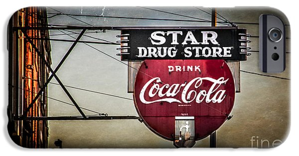 Sign iPhone Cases - Vintage Star Drug Store iPhone Case by Perry Webster