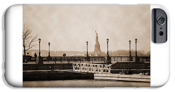 Hudson River iPhone Cases - Vintage statue of Liberty view iPhone Case by RicardMN Photography