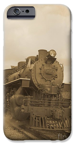 Steam Locomotive iPhone Cases - Vintage Steam Locomotive iPhone Case by Edward Fielding