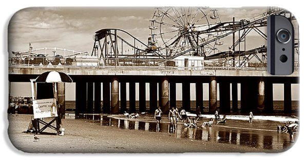 Monotone iPhone Cases - Vintage Steel Pier iPhone Case by John Rizzuto