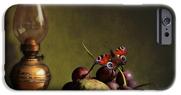 Annona iPhone Cases - Vintage still life butterfly and fruits iPhone Case by Luisa Vallon Fumi