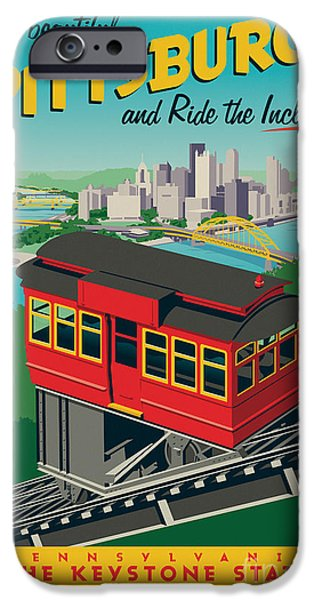Clemente iPhone Cases - Vintage Style Pittsburgh Incline Travel Poster iPhone Case by Jim Zahniser