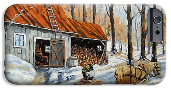 Quebec Paintings iPhone Cases - Vintage Sugar Shack by Prankearts iPhone Case by Richard T Pranke