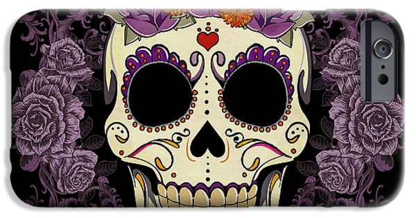 Graphic Design iPhone Cases - Vintage Sugar Skull and Roses iPhone Case by Tammy Wetzel
