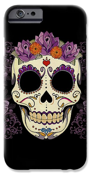 Vintage Sugar Skull and Roses iPhone Case by Tammy Wetzel