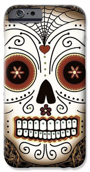 Vintage Sugar Skull iPhone Case by Tammy Wetzel