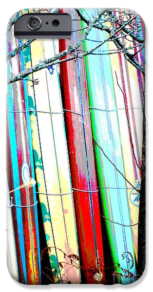 Sailboat Ocean Mixed Media iPhone Cases - Vintage Surf boards iPhone Case by ArtyZen Studios - ArtyZen Home