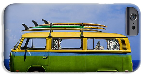 Beach iPhone Cases - Vintage Surf Van iPhone Case by Diane Diederich