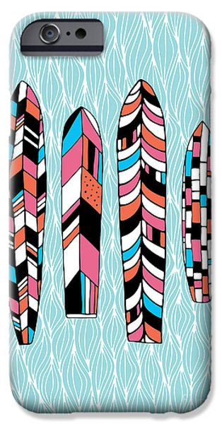 Surfboards iPhone Cases - Vintage Surfboards Part2 iPhone Case by Susan Claire