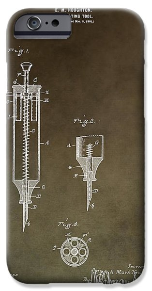 Flu iPhone Cases - Vintage Syringe Patent iPhone Case by Dan Sproul