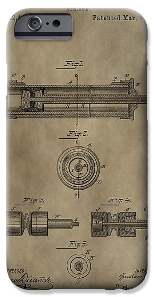 Flu iPhone Cases - Vintage Syringe Patent Drawing iPhone Case by Dan Sproul