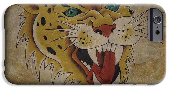 Tattoo Flash iPhone Cases -  Leopard Vintage Tattoo Flash Art iPhone Case by Larry Mora