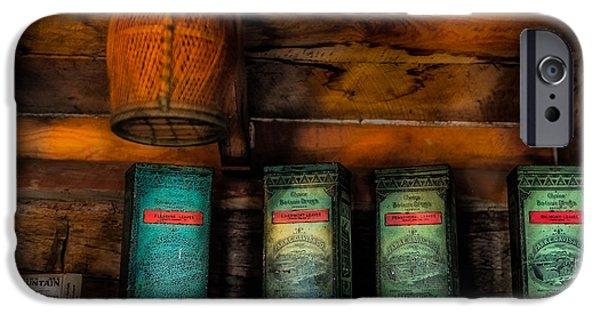 Log Cabin Interiors iPhone Cases - Vintage Tea Leaves iPhone Case by Paul Freidlund